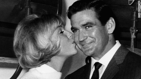 "Rod Taylor in 1965 on the set of the movie ""Do Not Disturb,"" with co-star Doris Day."