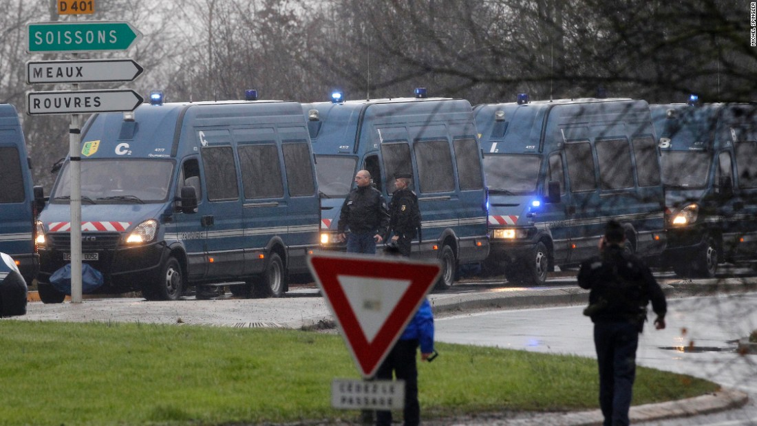 Police vans line up in Dammartin-en-Goele on January 9.