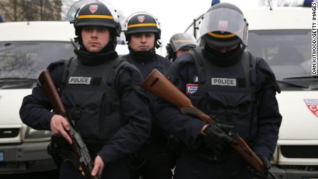 Police arrive with guns at Port de Vincennes on January 9.