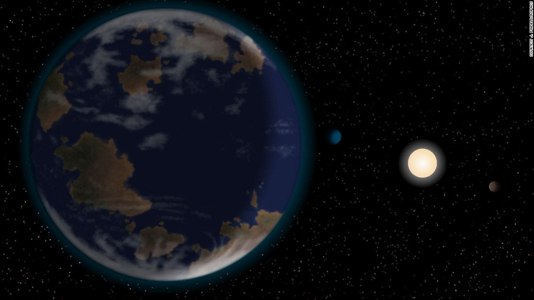 This illustration, by J. Pinfield of the Rocky Planets around Cool Stars network, depicts HD 40307g as a terrestrial world partially covered by oceans. The planet is 264 trillion miles away from Earth.