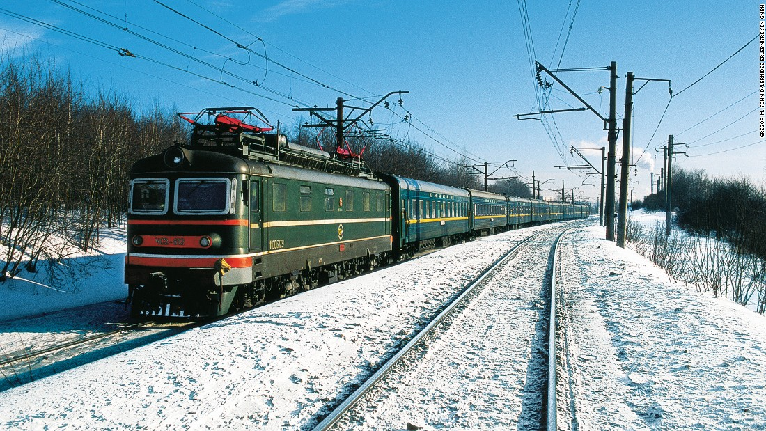 The main route of the Trans-Siberian railway runs from Moscow to Vladivostok. It takes eight days, traveling through seven time zones, to cover the 9,258 kilometers of track.