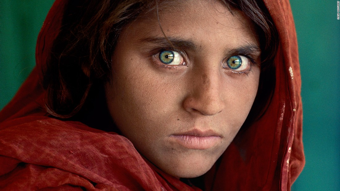 Sharbat Gula, the Afghan Girl, at Nasir Bagh refugee camp near Peshawar, Pakistan