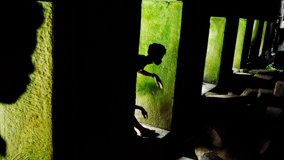 Shadow play in Preah Khan, Angkor, Cambodia.