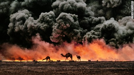 Camels flee a burning oil well during the first Gulf War, Kuwait, 1991