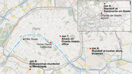 Map showing terror attacks in Paris area, Jan 7 - 9