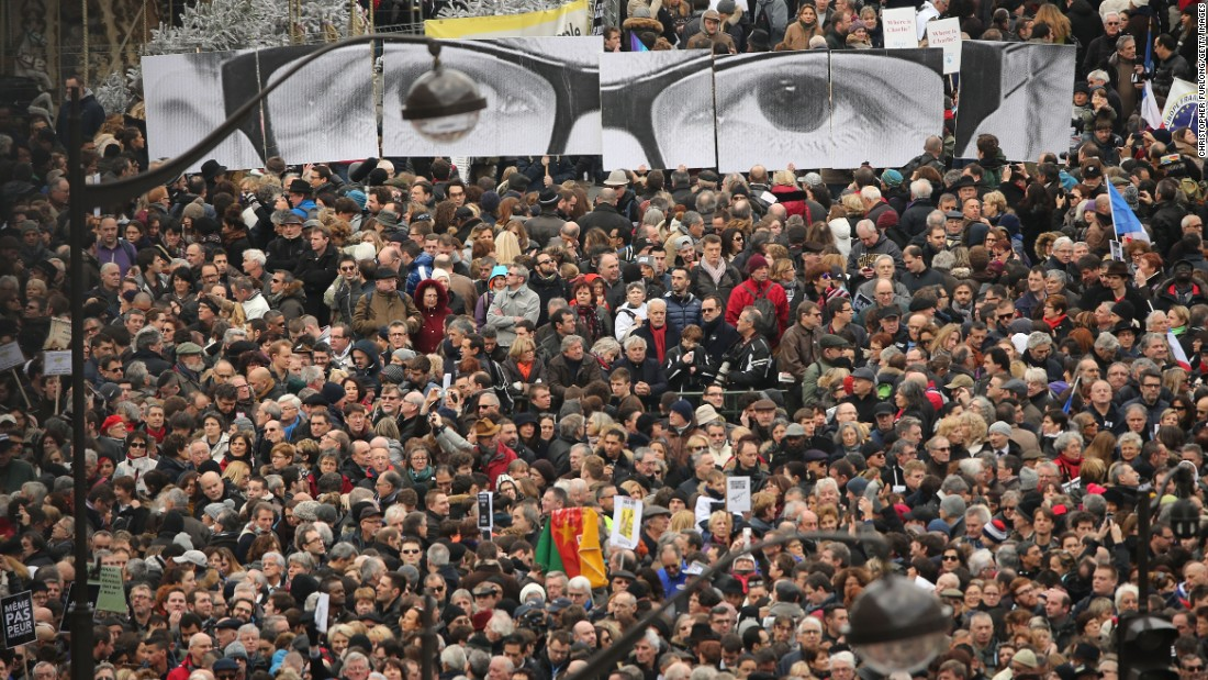 Demonstrators gather in the Place de la Republique before the rally on January 11.