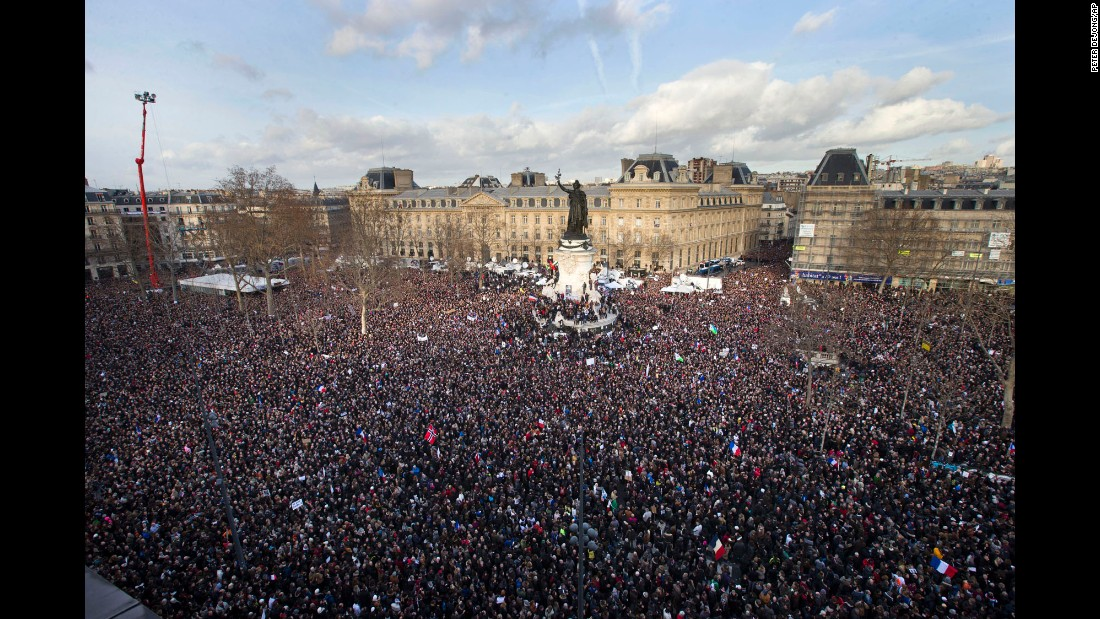 A crowd gathers at the Place de la Republique before a massive unity rally in Paris on January 11.