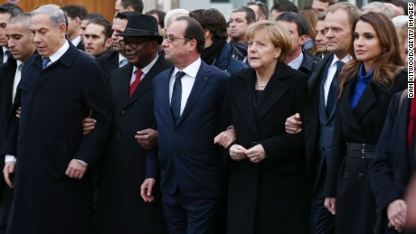 PARIS, FRANCE - JANUARY 11:  Israeli Prime Minister Benjamin Netanyahu, French President Francois Hollande, German Chancellor Angela Merkel and Queen Rania of Jordan attend a mass unity rally following the recent Paris terrorist attacks on January 11, 2015 in Paris, France. An estimated one million people have converged in central Paris  for the Unity March joining in solidarity with the 17 victims of this week's terrorist attacks in the country. French President Francois Hollande led the march and was joined by world leaders in a sign of unity. The terrorist atrocities started on Wednesday with the attack on the French satirical magazine Charlie Hebdo, killing 12, and ended on Friday with sieges at a printing company in Dammartin en Goele and a Kosher supermarket in Paris with four hostages and three suspects being killed. A fourth suspect, Hayat Boumeddiene, 26, escaped and is wanted in connection with the murder of a policewoman.  (Photo by Dan Kitwood/Getty Images)