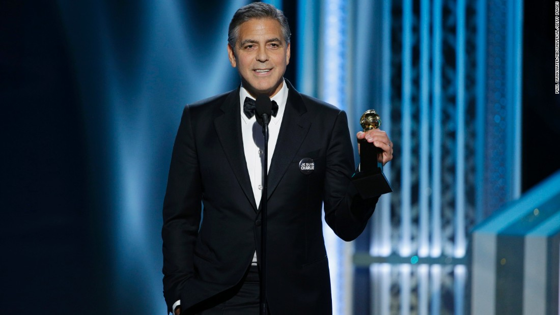 "George Clooney accepts the Cecil B. DeMille lifetime achievement award. He thanked the Hollywood Foreign Press for ""keeping small films alive"" and joked about the Sony hack."