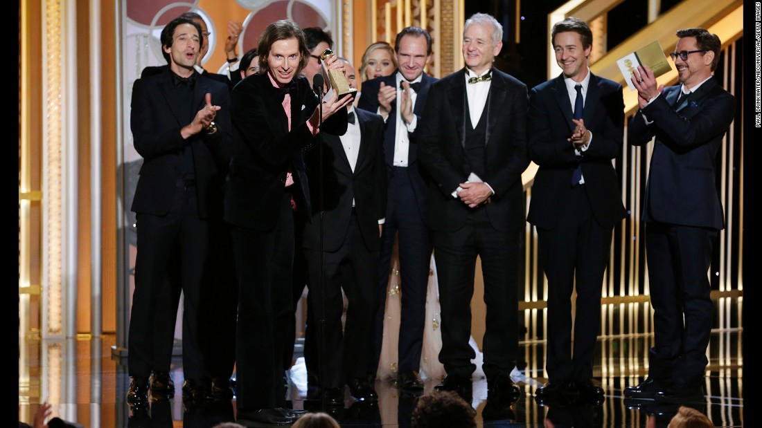 "Wes Anderson, director of ""The Grand Budapest Hotel,"" accepts the award for best motion picture in the musical or comedy category."