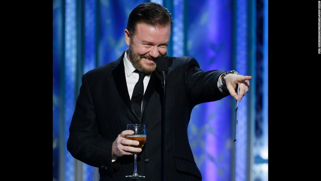 "Comedian Ricky Gervais presents the award for best actress in a musical or comedy. Amy Adams won for her role in ""Big Eyes."""