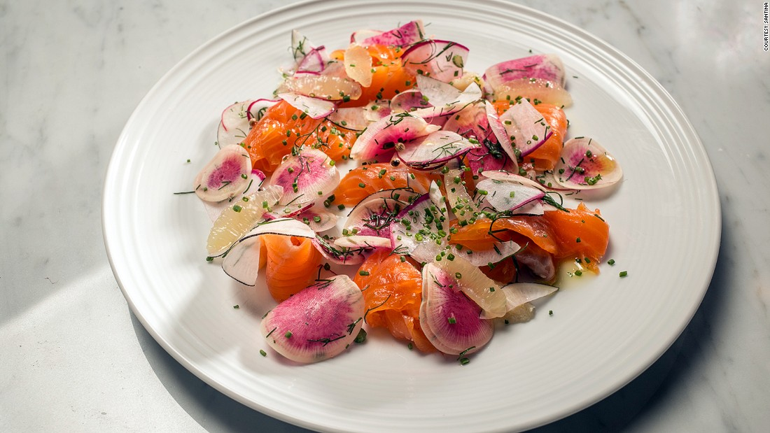 Recently opened near the Highline in Manhattan, Santina focuses on seafood and Italian cuisine, such as sambuca-cured salmon and radishes (pictured).