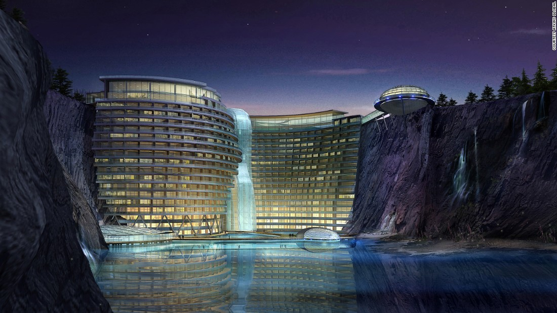 Engineering and architecture firm Atkins won an international design com-petition for the five-star hotel in August 2006, which is built to take advantage of eco-friendly geothermal and solar energy supplies.<br /><br />[Artist's rendering.]