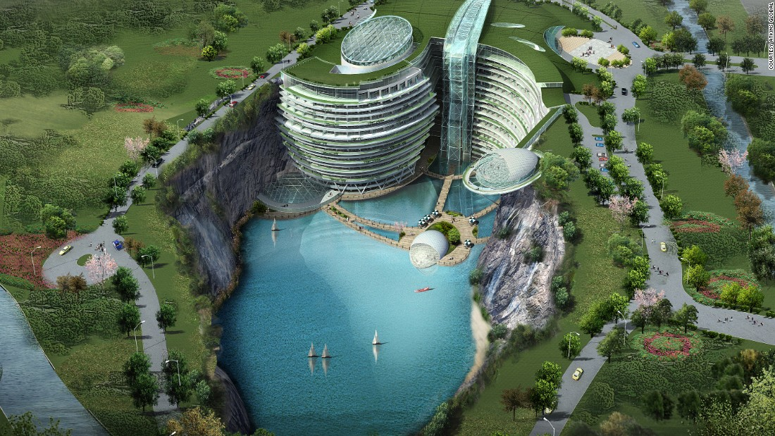 The transformation of a former quarry outside Shanghai into a 19-storey resort is almost complete. On completion the Shimao Wonderland Intercontinental will have a giant waterfall cascading from the roof, an extreme sports center hanging from the a rock-face, and an underwater restaurant.<br /> <br />[Artist's rendering.]