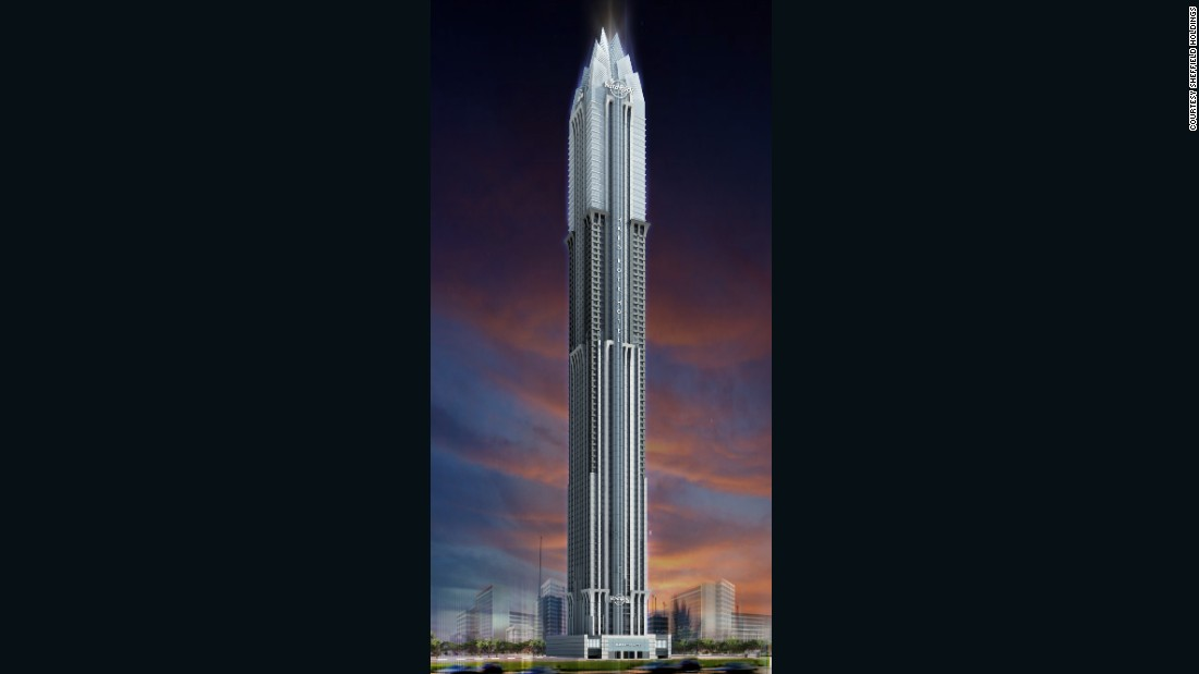 The first 33 floors of the skyscraper will comprise a 300-room Hard Rock hotel, with residential apartments above. The top 20 floors will contain some of the most expensive penthouses in Dubai, developers claim.<br /><br />[Artist's rendering.]