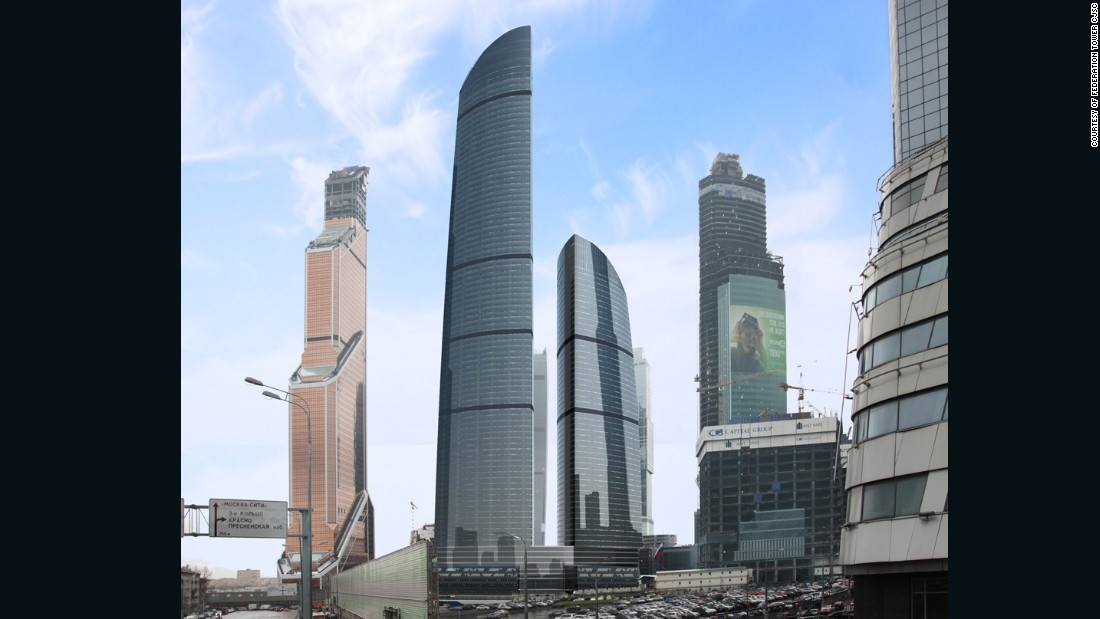 """A giant spike at the center of Moscow's <a href=""""http://svetasfera.com/"""" target=""""_blank"""">Federation Tower</a> is set to top 500m, but the East Tower is already Europe's tallest building -- at 370 meters just topping the same city's Mercury City tower. The skyscraper has been a long time coming, with construction starting in 2003, before bankruptcies and construction disasters held off completion. <br />[Artist's rendering.]"""