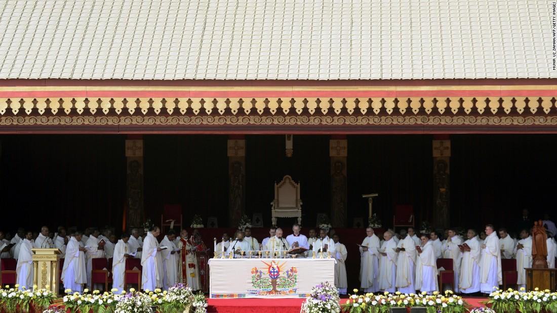 The Pope leads a canonization Mass in Colombo, Sri Lanka, for 17th-century missionary Joseph Vaz on Wednesday, January 14.