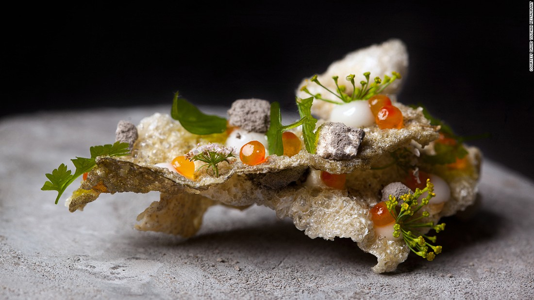 David Toutain's restaurant quickly won critical and customer acclaim for inventive and unusual creations, such as the fish skin (pictured).
