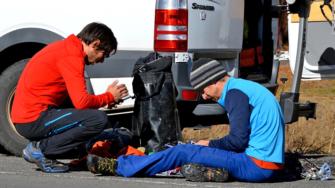 Before starting their climb, Jorgeson, left, and Caldwell prepare their gear on Saturday, December 27. Jorgeson didn't know Caldwell until he decided to join him on the climb.