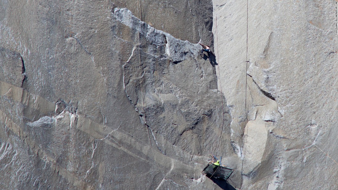Caldwell, bottom, watches Jorgeson as they work their way up the Dawn Wall on Monday, January 12.