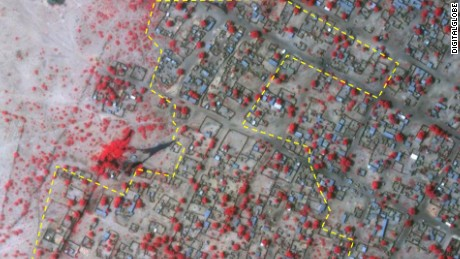 Following a purported massacre of approximately 2,000 people in North-Eastern Nigeria at the hands of Islamist group Boko Haram, these satellite images of Baga depict the town and its surrounding landscape. Credit: 	DigitalGlobe
