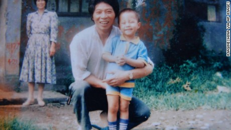 Sun Bin when he was four with his father.