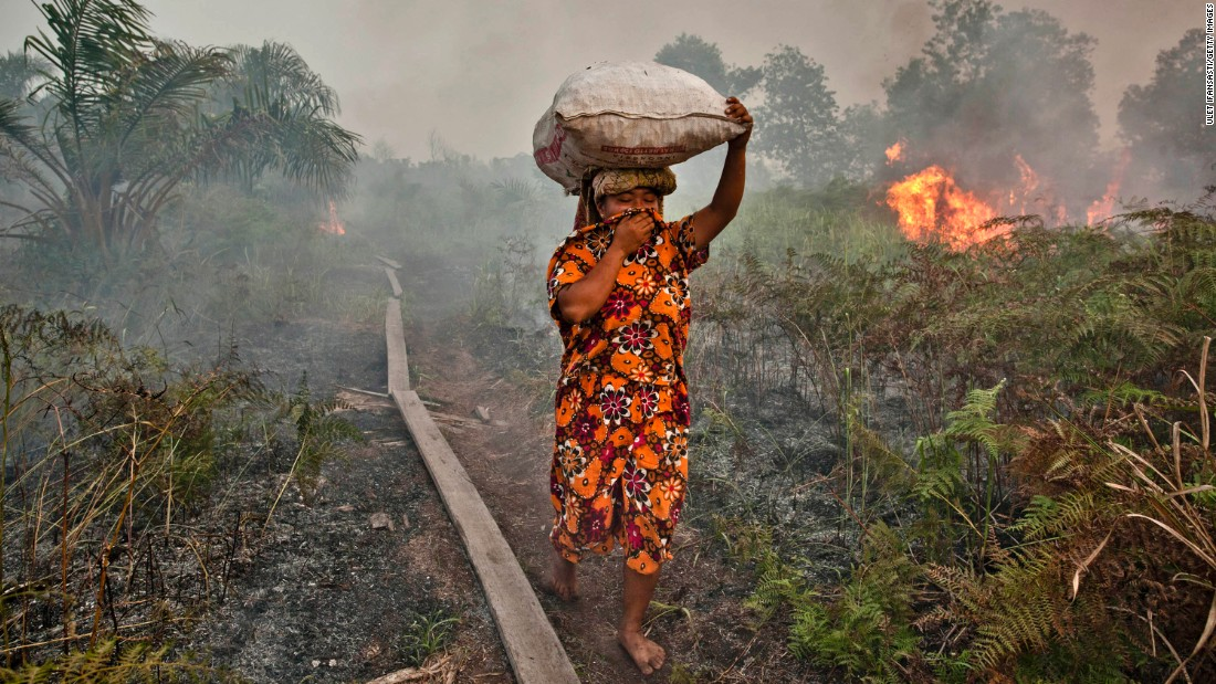 A woman walks through haze as a forest fire burns bushes and fields, June 27, 2013 in Riau province, Indonesia. The fires on Sumatra caused record smog levels in Malaysia and Singapore. Sumatra was forced to step up efforts to fight the fires to relieve conditions, with eight farmers arrested for starting the fires.