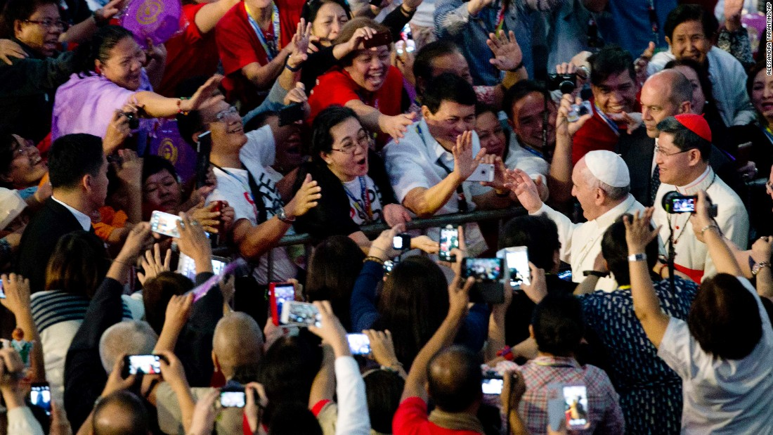 Pope Francis arrives January 16 at the Mall of Asia Arena in Manila.