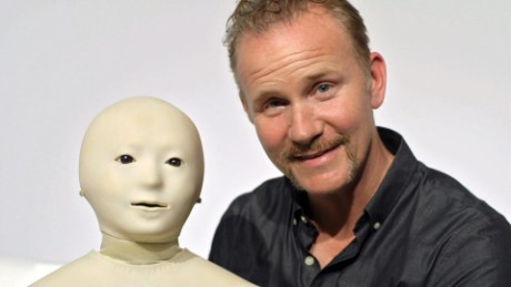 Morgan Spurlock and Telenoid, a tele-operated android