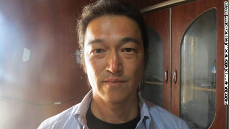 ALEPPO, SYRIA - JANUARY 20: In this file photo, dated as April 25, 2014, Japanese journalist Kenji Goto Jogo, captured by Islamic State of Iraq and Levant (ISIL) and one of two Japanese hostages, is seen in Aleppo, Syria. (Photo by Ahmed Muhammed Ali/Anadolu Agency/Getty Images)