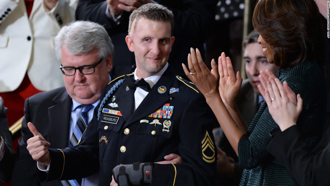 U.S. Army Ranger Cory Remsburg, who was wounded in Afghanistan, gives a thumbs-up while being honored during Obama's State of the Union address in 2014.