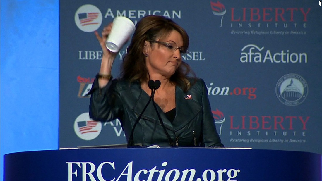 "Palin takes a jab at President Barack Obama in September, mocking his ""coffee cup salute"" moment. Obama drew criticism after the White House posted a video to Instagram featuring him walking off Marine One offering a less-than-formal salute with a coffee cup in hand."