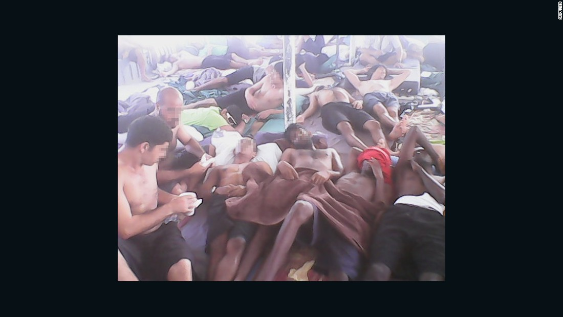 Asylum seekers at the Manus Island detention center lie in the heat after several days of hunger striking. Advocates say as many as 700 are refusing food in protest against plans to send some confirmed refugees to another, less secure facility on the island. This image was said to have been taken on Monday, January 19.