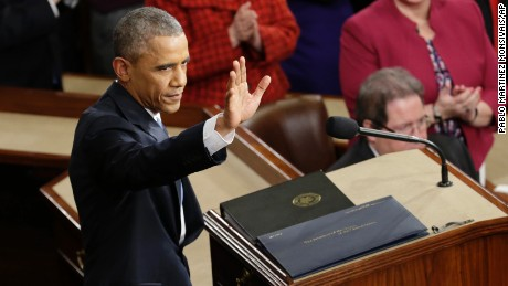 President Barack Obama waves before giving his State of the Union address before a joint session of Congress on Capitol Hill in Washington, Tuesday, Jan. 20, 2015.