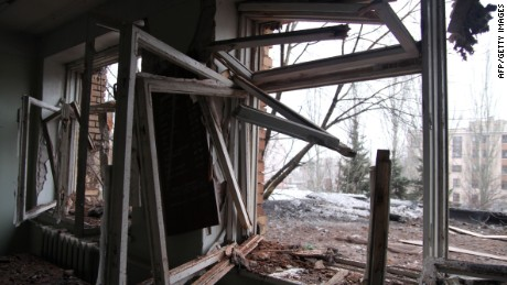 A picture taken on January 19, 2015 shows broken windows at a hospital, which was damaged after shelling between Ukrainian forces and pro-Russian separatists in eastern Ukrainian city of Donetsk. Fighting eased in the Donetsk region after Ukraine launched a major offensive and claimed to clear pro-Russian rebels from most of the airport outside the key eastern city. There were a number of sporadic explosions overnight, but the violence seemed to be far less than in previous days, when heavy clashes shook the area around the airport and shelling moved closer toward the city centre, killing at least 10 civilians. AFP PHOTO/ ALEKSANDER GAYUKALEKSANDER GAYUK/AFP/Getty Images