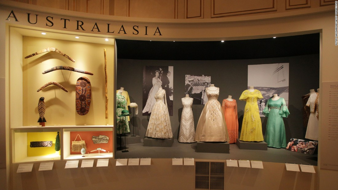 Many gifts received by the Queen end up going on display in museums across the Commonwealth. Here, the dresses from her tour of Australasian countries is displayed at Buckingham Palace.