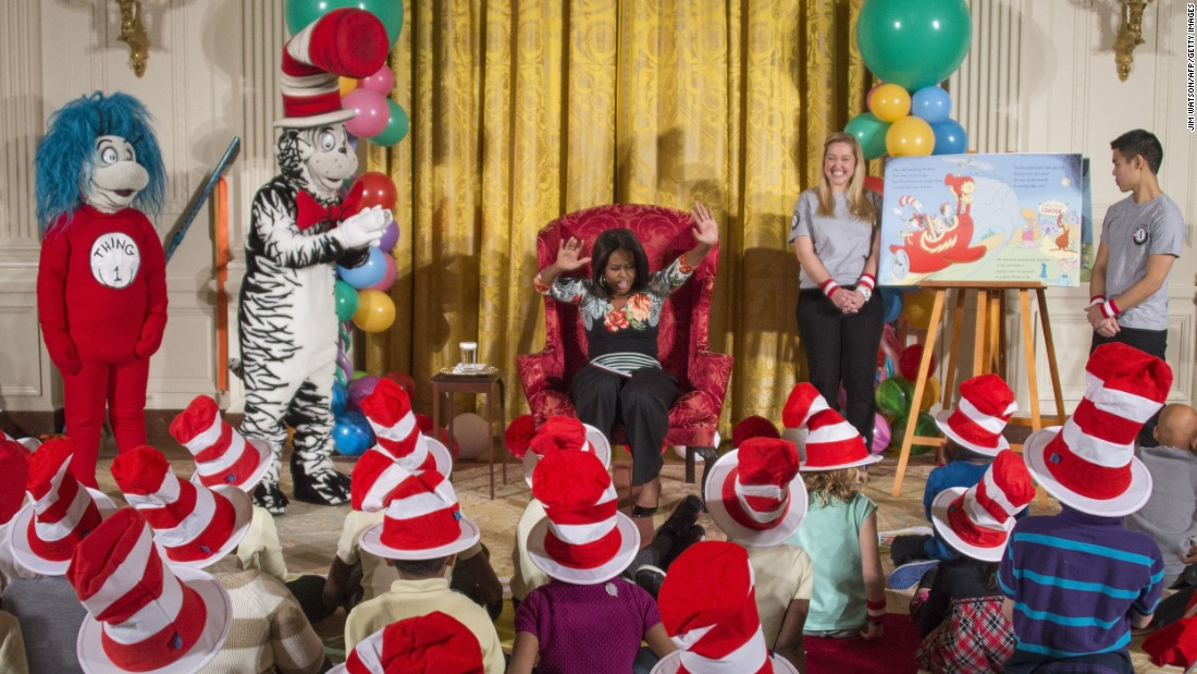 "Characters created by Geisel and ""Oh, The Places You'll Go!"" have led to companion books and new editions. First lady Michelle Obama reads a Dr. Seuss-inspired work ""Oh, the Things You Can Do That Are Good For You"" by Tish Rabe, to students visiting the White House in January 2015."