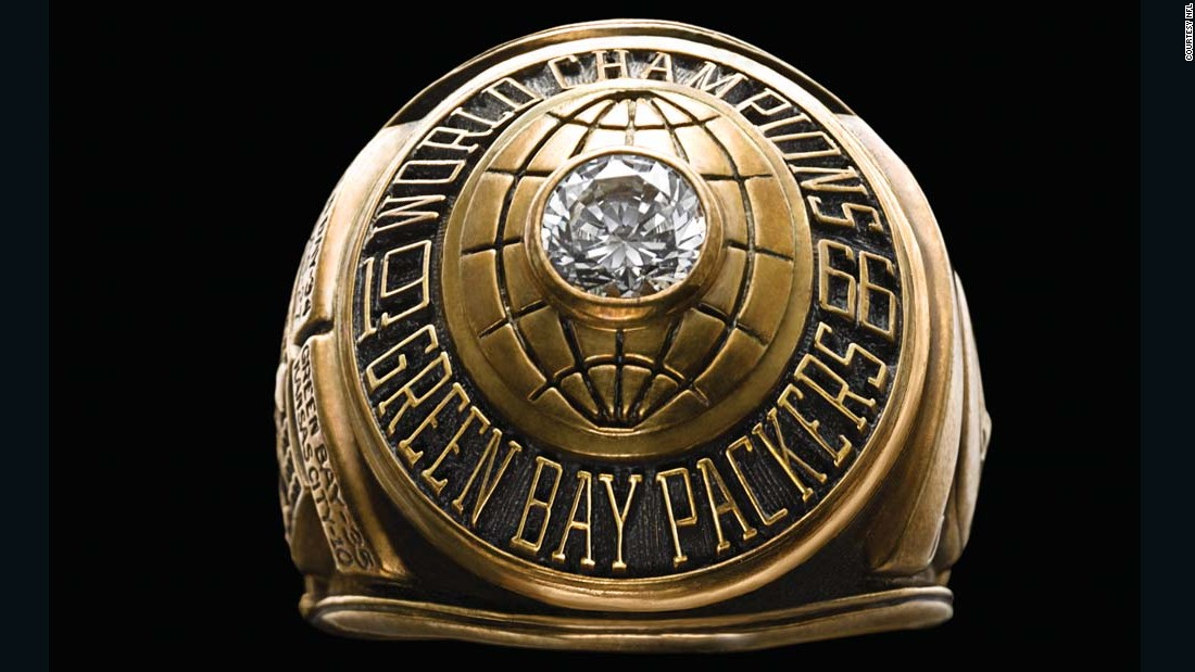 Each member of the Green Bay Packers received this ring for winning the first Super Bowl in January 1967. Over the years, the Super Bowl ring has gotten much more elaborate.