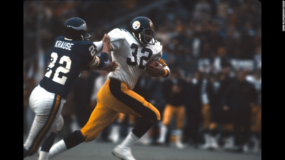 Pittsburgh Steelers running back Franco Harris fights off Minnesota defender Paul Krause during Pittsburgh's 16-6 victory in Super Bowl IX. Harris ran for 158 yards and a touchdown on his way to winning MVP.