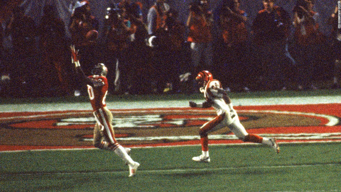 San Francisco wide receiver Jerry Rice catches a 14-yard touchdown pass against Cincinnati in Super Bowl XXIII. Rice finished with 11 receptions for a Super Bowl-record 215 yards.