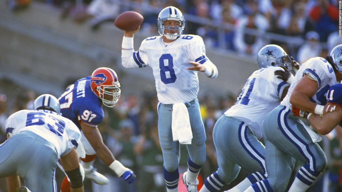 Dallas quarterback Troy Aikman had 273 yards and four touchdowns as the Cowboys won their first Super Bowl since 1978. Dallas trounced Buffalo 52-17, handing the Bills their third straight Super Bowl loss.