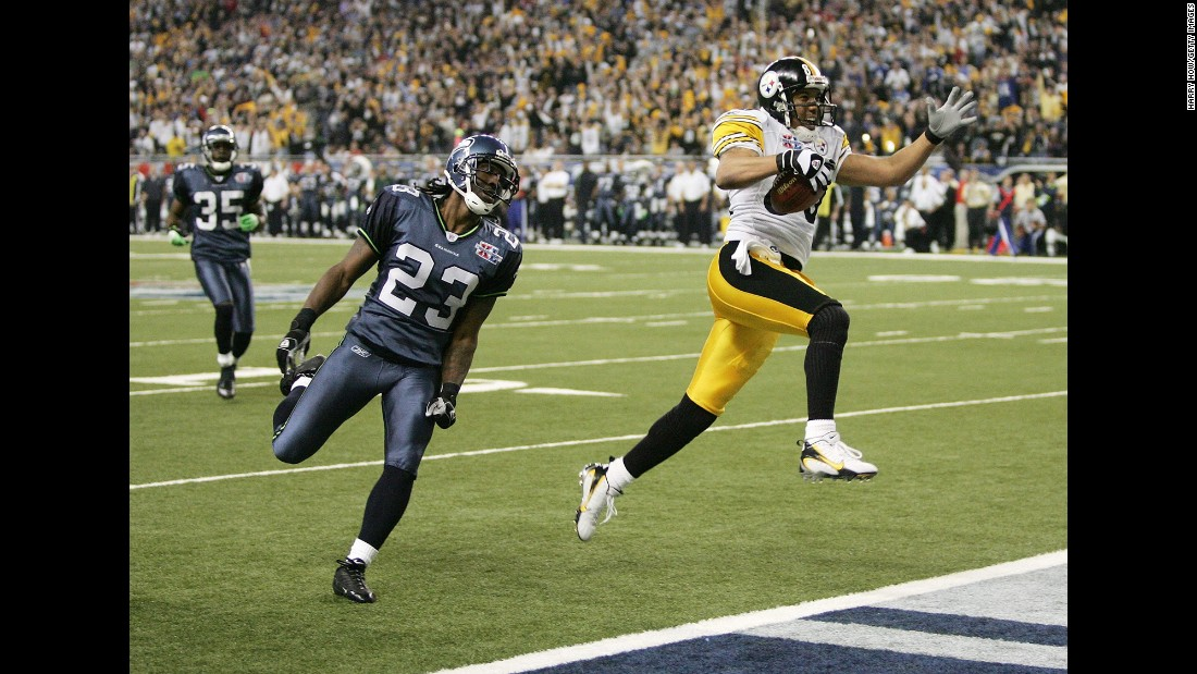 Pittsburgh wide receiver Hines Ward struts into the end zone during the Steelers' 21-10 victory over Seattle. Ward had 123 yards on five catches as the Steelers won their first Super Bowl since 1980.