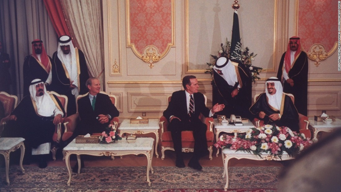 Seated from left, Prince Abdullah, U.S. Secretary of State Jim Baker, U.S. President George H.W. Bush and Saudi King Fahd discuss the Gulf crisis in November 1990.