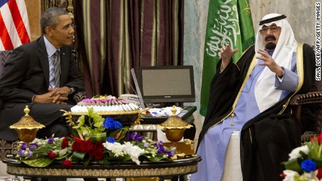 US President Barack Obama (L) meets with Saudi King Abdullah (R) at Rawdat Khurayim, the monarch's desert camp 60 KM (35 miles) northeast of Riyadh, on March 28, 2014. Obama arrived in Riyadh for talks with Saudi King Abdullah as mistrust fuelled by differences over Iran and Syria overshadows a decades-long alliance between their countries. AFP PHOTO / SAUL LOEB        (Photo credit should read SAUL LOEB/AFP/Getty Images)