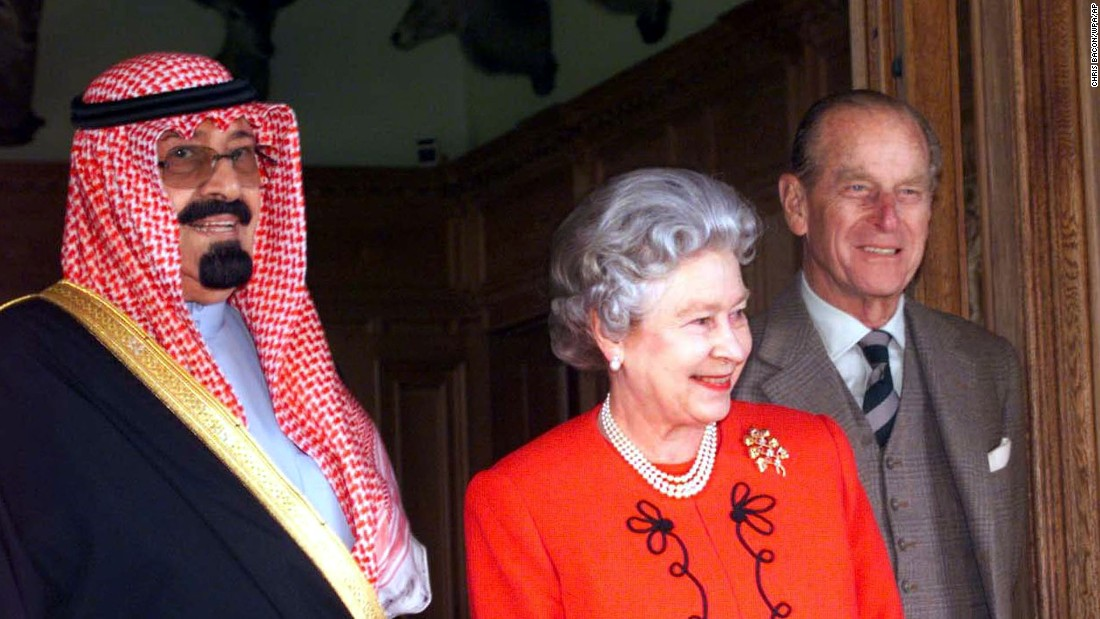 Britain's Queen Elizabeth and Prince Philip meet with Prince Abdullah for lunch at her Scottish residence, Balmoral Castle, in September 1998.
