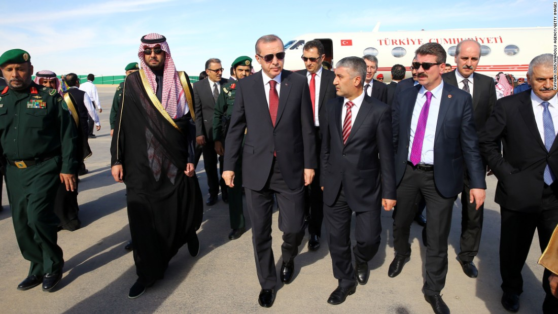 Turkish President Recep Tayyip Erdogan, third from left in the front row, arrives in Riyadh to attend the funeral.