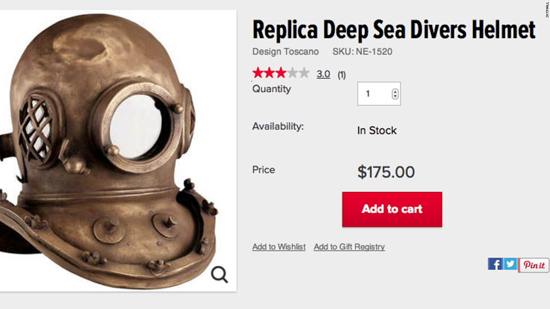 SkyMall was big on replicas, like this deep sea diver helmet.