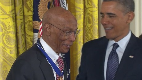 Baseball legend Ernie Banks received the Presidential Medal of Freedom in 2013. He died in January at age 83.