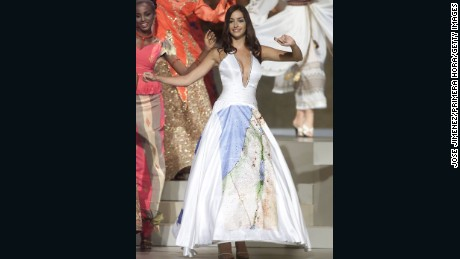 Miss Israel 2002 Yamit Har-Noy stoked controversy at the Miss Universe competition with a dress reportedly displaying the Israeli state that included disputed territories of West Bank and Gaza.