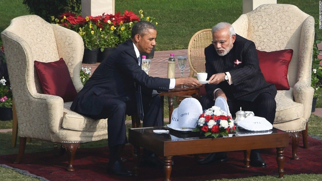 Obama and Modi sit down for tea after a stroll in the gardens of Hyderabad House on January 25.